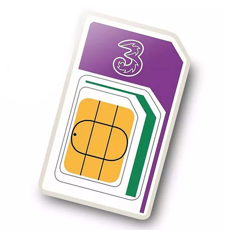 3 PAYG 3G Trio Data SIM Pack Incl. 3GB Data