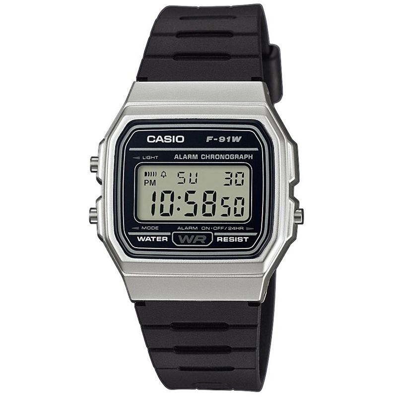 Casio Casual Digital Watch with Black Rubber Strap    Silver Plated Case