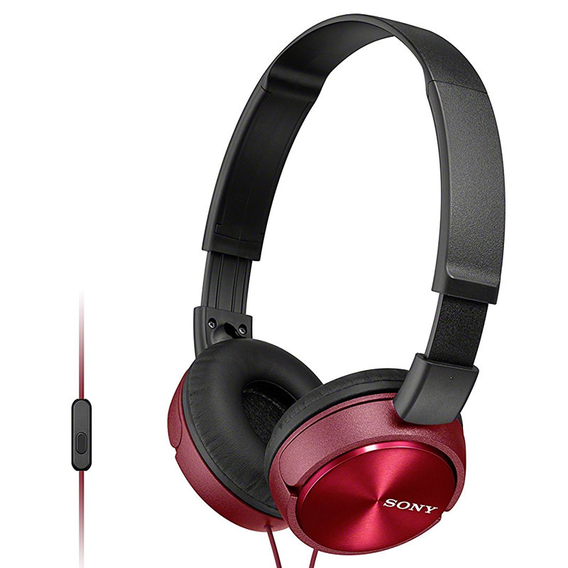 Sony MDR-ZX310 Foldable Headphones + Smartphone Control and Mic - Metallic Red