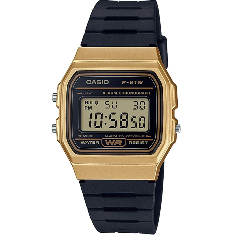 Casio Casual Digital Watch with Black Rubber Strap    Gold Plated Case