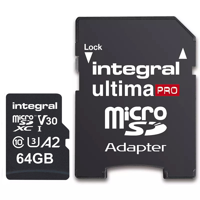 Click to view product details and reviews for Integral 64gb Ultimapro A2 V30 High Speed Micro Sd Card Sdxc Uhs I U3 Adapter 180mb S.