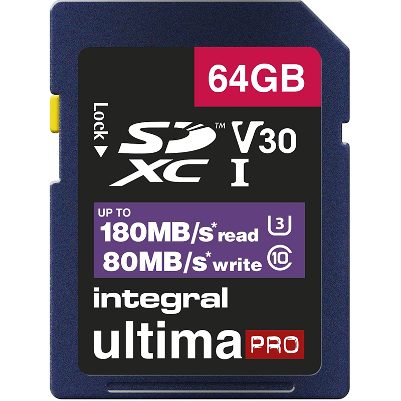 Click to view product details and reviews for Integral 64gb Ultimapro V30 4k 8k Sd Card Sdxc Uhs I U3 180mb S.