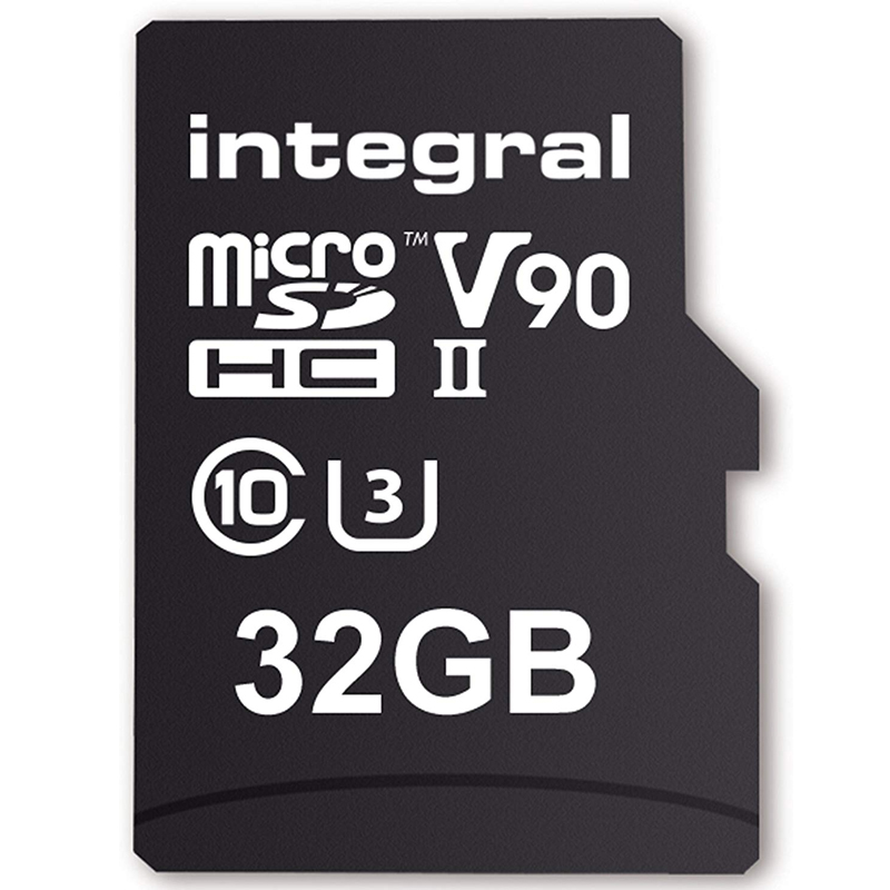 Integral 32gb Ultimapro X2 Micro Sd Card Sdhc Uhs Ii U3 V90 8k 280mb S