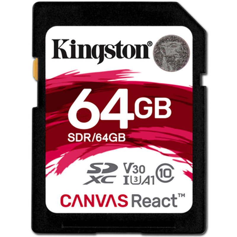 Kingston 64gb Canvas React Sd Card Sdxc 100mb S