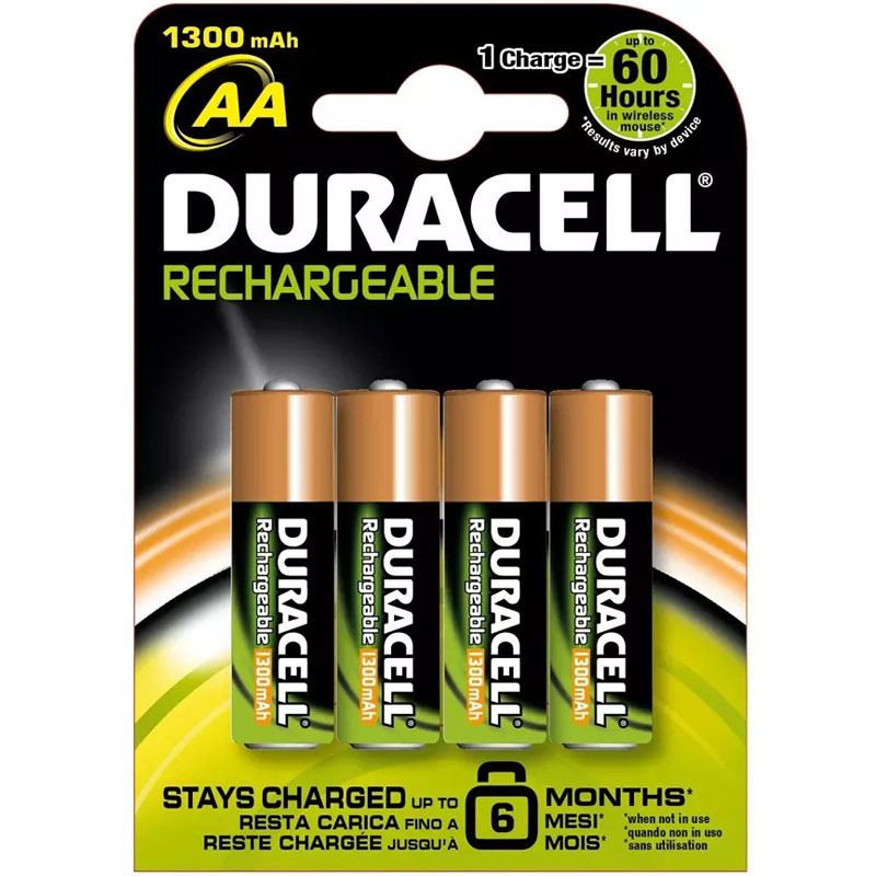 Compare retail prices of Duracell StayCharged 1300mAh AA Rechargeable Batteries - 4 Pack to get the best deal online