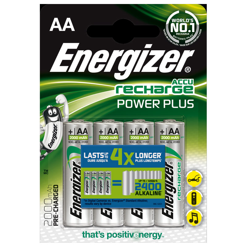 Energizer Power Plus 2000mAh AA Rechargeable Batteries - 4 Pack