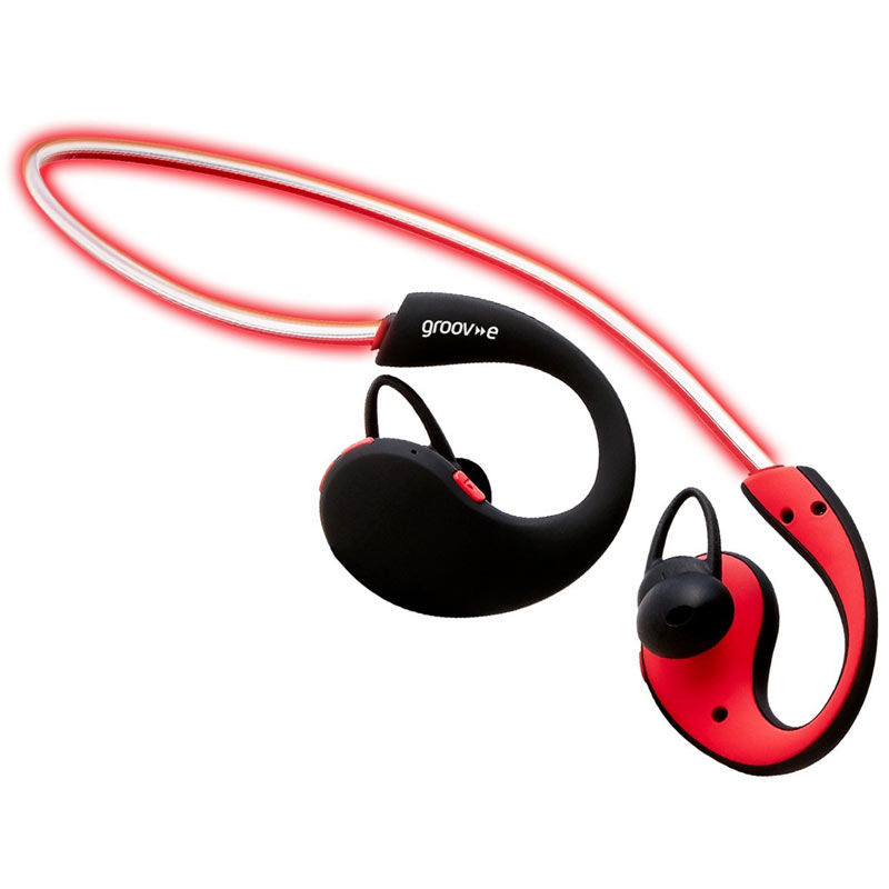 Groov-e Action Wireless Bluetooth Sports Headphones with LED Neckband - Red