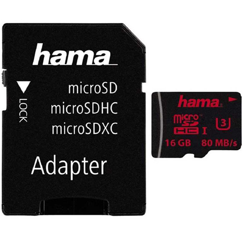 Compare retail prices of Hama 16GB Micro SD Card SDHC UHS-I U3 + Adapter - 80MB/s to get the best deal online