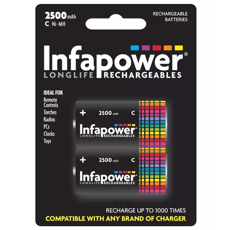 Compare prices for Infapower 2500mAh C Longlife Rechargeable Batteries - 2 Pack