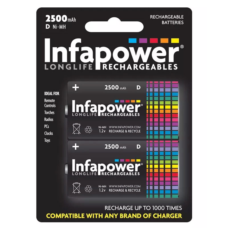 Compare prices for Infapower 2500mAh D Longlife Rechargeable Batteries - 2 Pack
