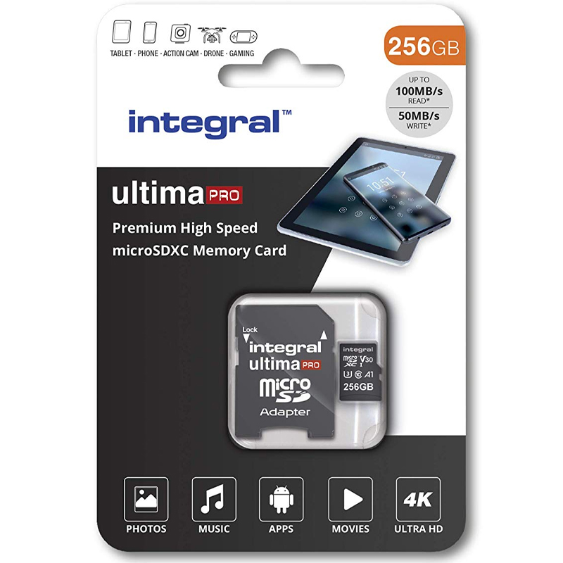 Click to view product details and reviews for Integral 256gb Ultimapro V30 Premium Micro Sd Card Sdxc Uhs I U3 Adapter 100mb S.