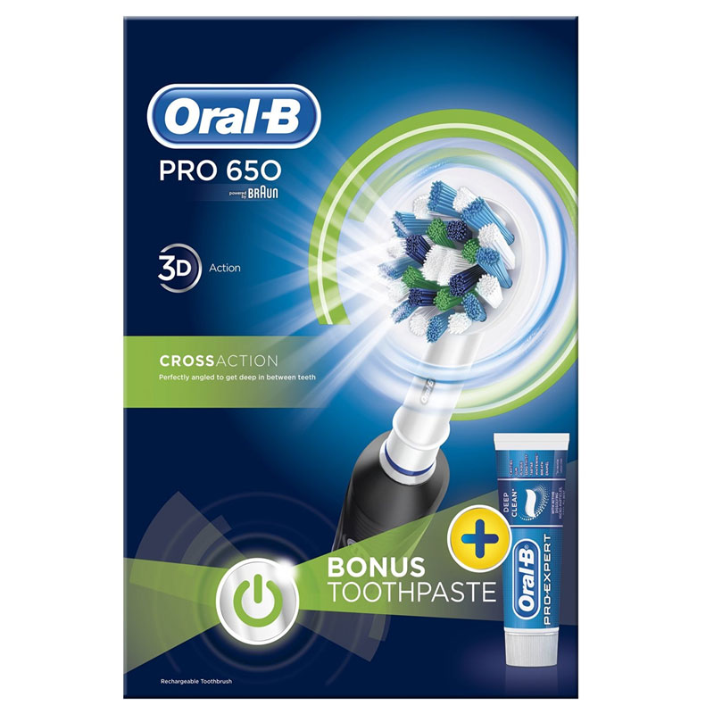 Oral-B PRO 650 Cross Action Rechargeable Electric Toothbrush - Black