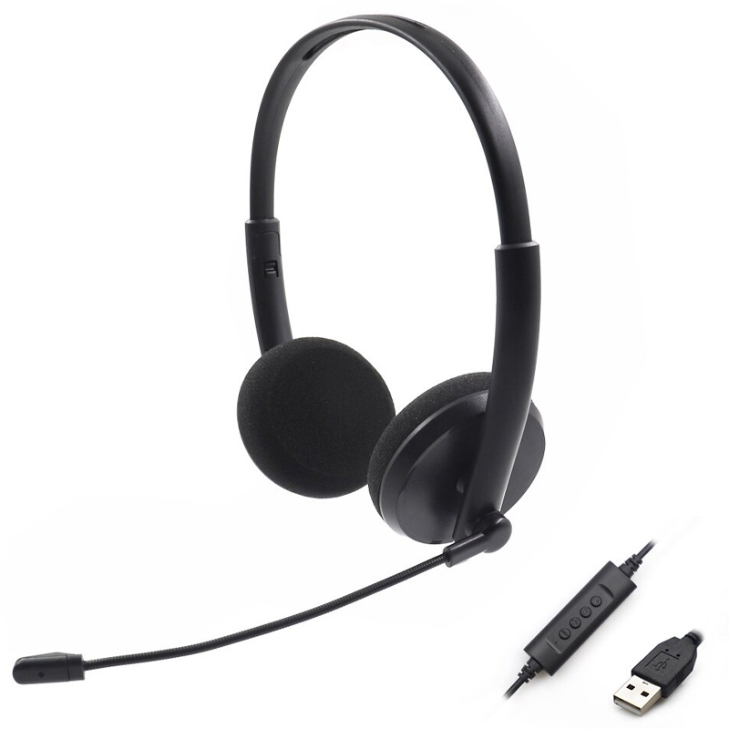 PC Noise Reduction Lightweight Computer Headset for Skype, MS team, ZOOM, Webinar, PC - Black