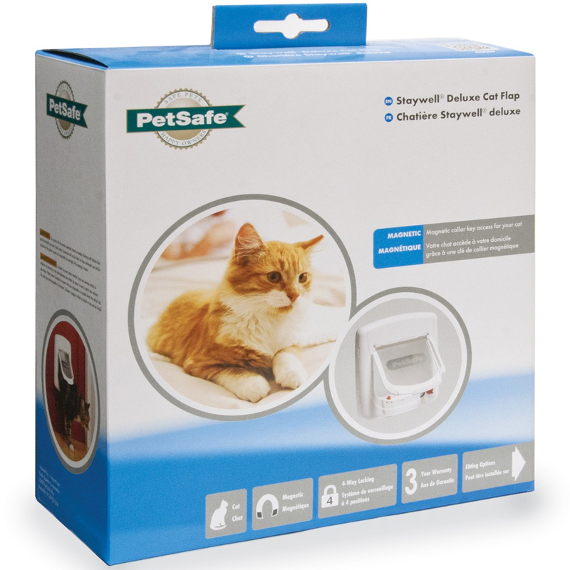 PetSafe Staywell Magnetic 4 Way Locking Deluxe Cat Flap - White