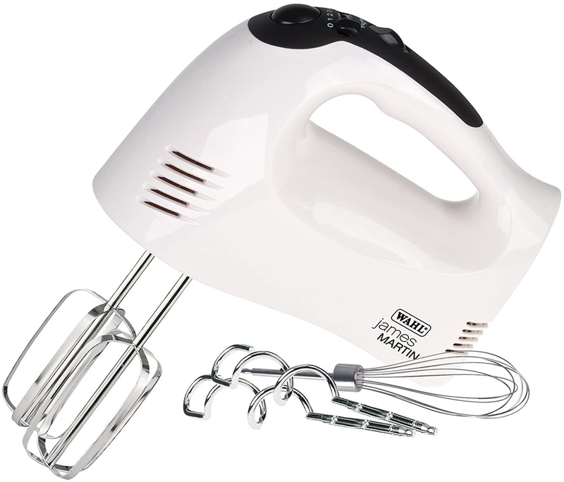 Wahl James Martin 300W Hand Mixer with Dough Hooks    Whisk - White