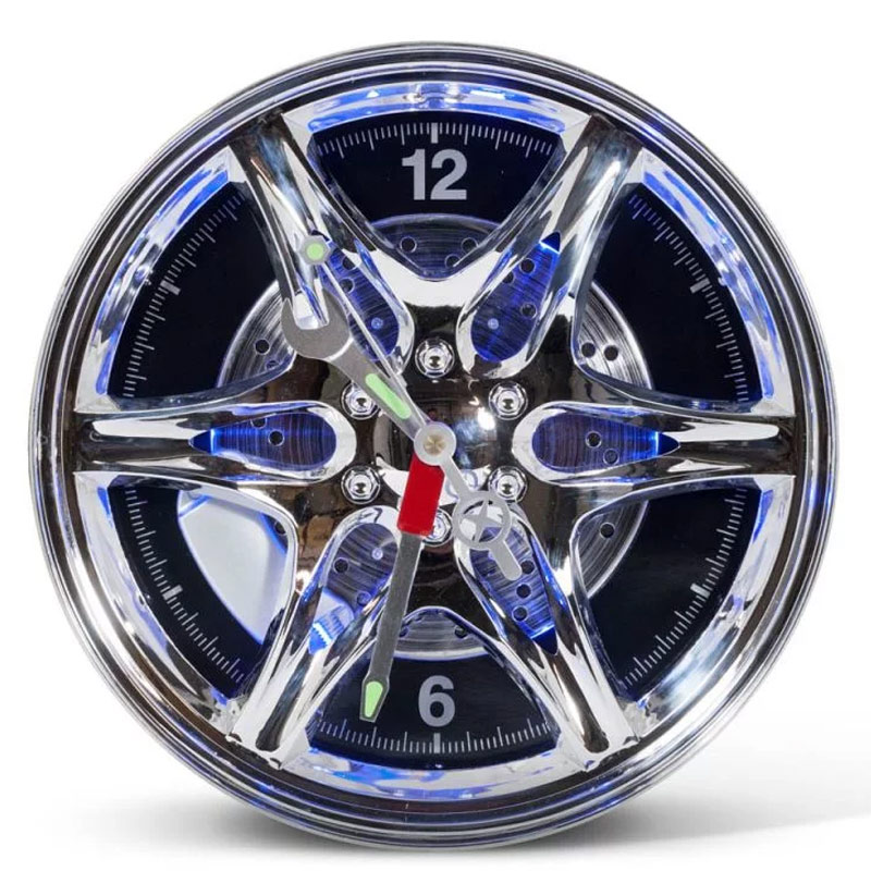 Neon Rim Alloy Wheel Shaped Wall Clock
