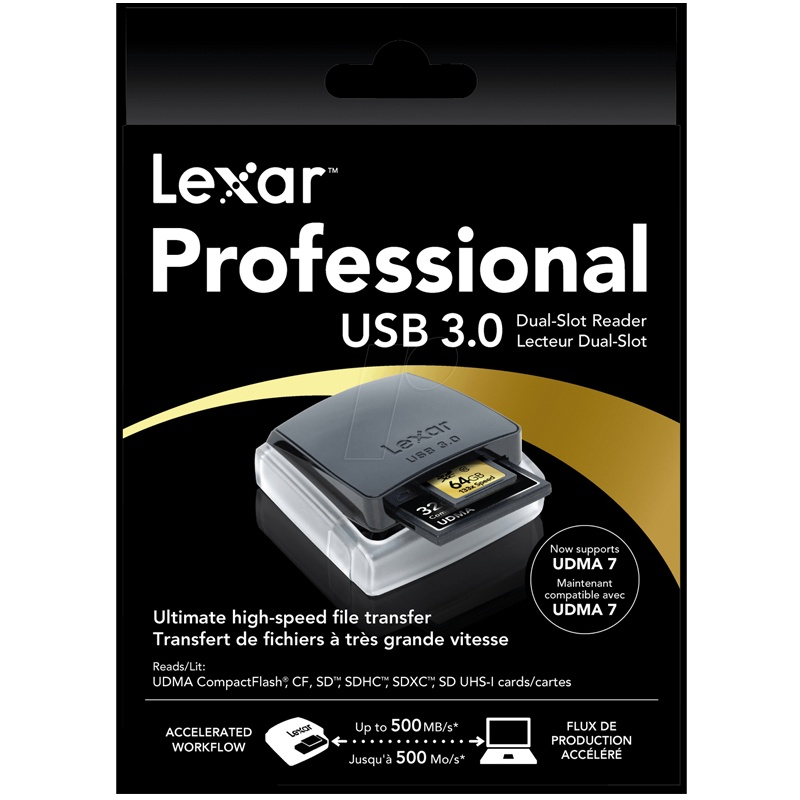 Click to view product details and reviews for Lexar Professional Usb 30 Dual Slot Card Reader 500mb S.