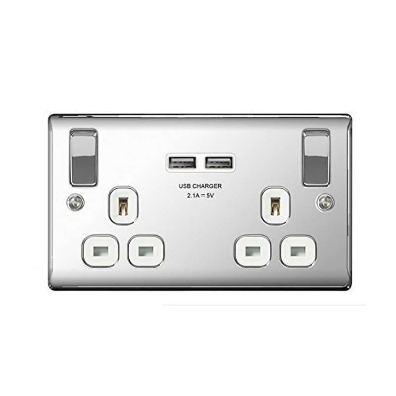 Compare prices for Masterplug Polished Chrome Switched 13A Double Socket + 2 x USB Port Insert