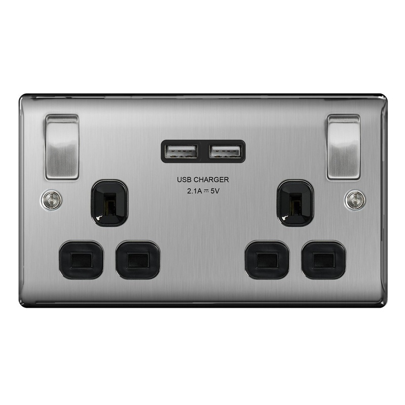 Compare prices for Masterplug Brushed Steel Switched 13A Double Socket + 2 x USB Port Insert