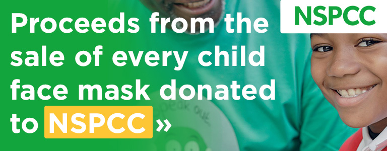 Proceeds from the sale of every child face mask will be donated to the NSPCC
