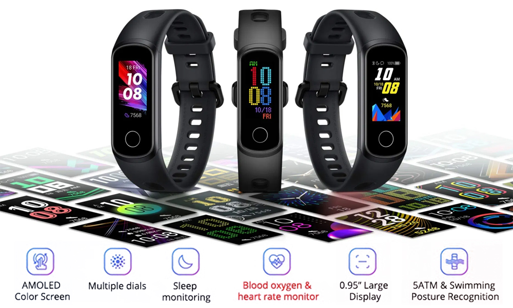 HONOR Band 5 Strap Fitness Tracker Wristband Smart Watch Bracelet Silicone Black